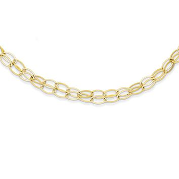 14k Yellow Gold Double Strand Oval Links w/2in Ext. Necklace