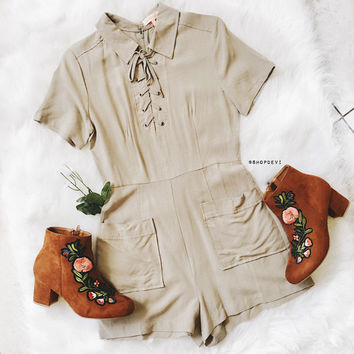 Easton Olive Lace Up Pocket Romper