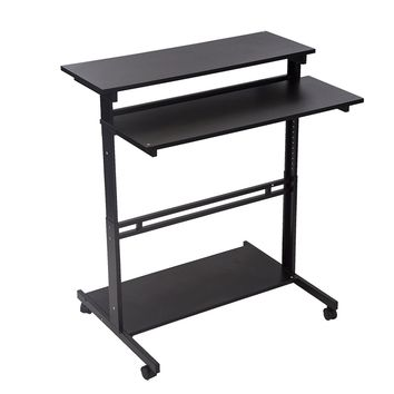 Black/White Home Office Adjustable Standing Desk Workstation w/Casters Tray 100