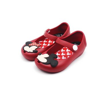 Mini Melissa  2018 New Mini Shoes Mickey And Minnie Shoes Crystal Jelly Sandals Children Shoes Fish Head Shoes Red Black