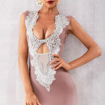 Night Of Passion Pink Sleeveless Sequin Plunge V Neck Sheer Mesh Cut Out Bodycon Bandage Mini Dress - 6 Colors Available