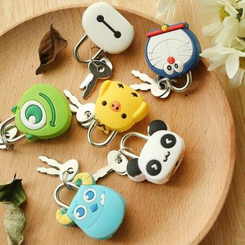 1X Cute Cartoon Kawaii Animals Luggage Bag Metal Lock Journal Diary Book Password Lock File Holder Stationery Accessories