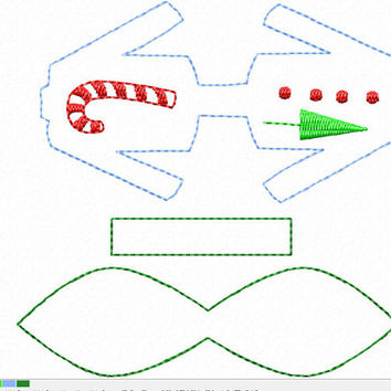 DIGITAL FILE Ugly Christmas Sweater 3d felt bow clippie ITH in the hoop Embroidery design toddler baby holiday winter season candy cane tree