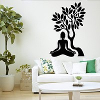 Buddha Tree Wall Decal Blossom Yoga Meditation Relaxation OM Zen Unique Gift (z2668)