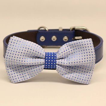 Blue Polka Dots Dog Bow tie collar, Pet wedding accessory, Something blue, Puppy gifts