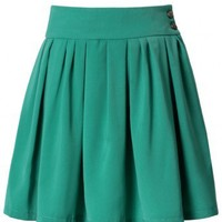 High Waist Green Pleated Skater Skirt - New Arrivals - Retro, Indie and Unique Fashion
