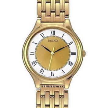 Seiko Mens Slim Dress Watch with White Index Ring - Gold-Tone - Bracelet