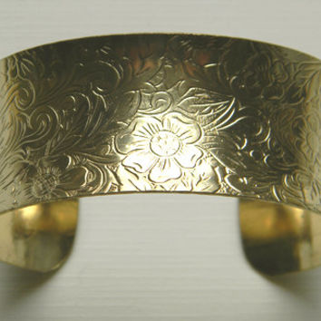 Raw Brass Etched Floral Concave Victorian Style Cuff Bracelet - 1 pc.