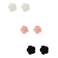 Lacquered Rosette Earring Set