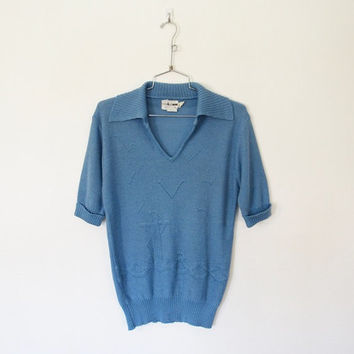 Men's Vintage 1970s COLLAGEMAN / Light Blue Pullover Sweater / Anchor and Seagull Novelty Knit