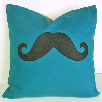 Moustache Pillow, Peacock Blue, Mustache Throw Cushion Cover, NEW, Boys, Guys, Man Cave Decor, Guys, Industrial, Steampunk Accent 20x20