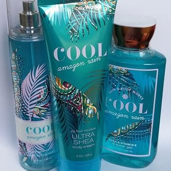 3 SET Bath & Body Works COOL AMAZON RAIN Body Cream / Fragrance Mist /Shower Gel