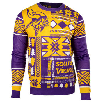 "Minnesota Vikings Official NFL Men's ""Ugly Patches"" Sweater by Klew"