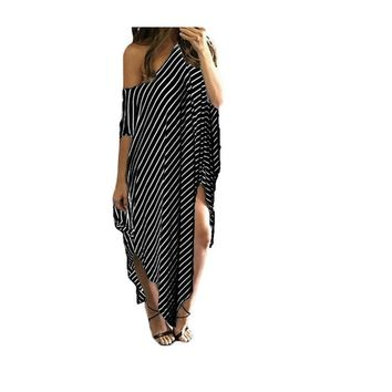 Loose Striped Batwing Sleeve Off shoulder Long Maxi Dress