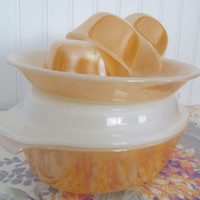 Fire King Peach Lustreware Casserole with Lid Pie Plate Custard Cups