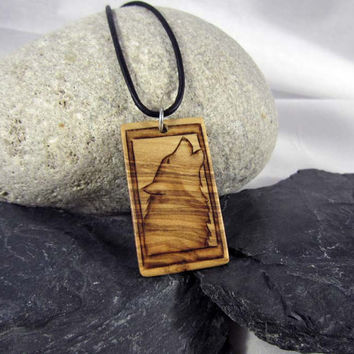 Howling Wolf Necklace, Wood Wolf Pendant, Wolf Jewelry, Handcrafted Olive Wood Necklace