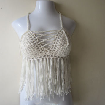 Fringe halter top, crochet fringe top, crochet halter top, boho fringe top, offwhite  festival top, bikini top, gypsy, summer top, 70's top