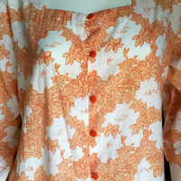 60's Tangerine Blossoms Robe Jacket, Orange Floral Cotton Robe, Orange Flowers, Layering Lounge Jacket, Spring Summer Robe MD/LG