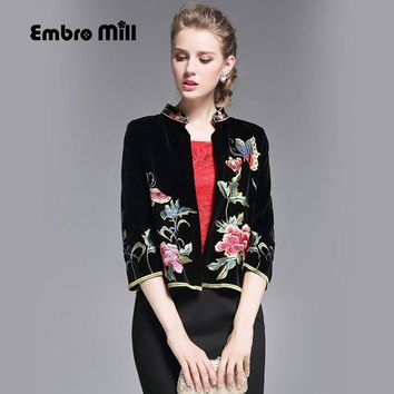 High quality women tops autumn royal embroidery short coat mandarin collar 3/4 sleeve casual floral velvet jacket female S-XXL