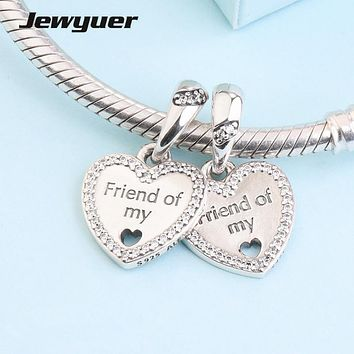 New Autumn Hearts of Friendship Dangle Charms 925 sterling silver jewelry fit charm beads bracelets necklace pendant DIY DA223