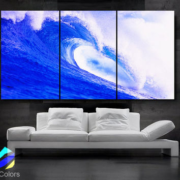 """LARGE 30""""x 60"""" 3 Panels Art Canvas Print beautiful Sea Wave Blue White Beach Ocean Wall Home (Included framed 1.5"""" depth)"""
