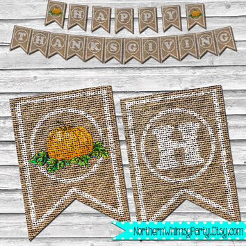 Burlap Thanksgiving Pumpkin Banner – Printable Home Decor –  Autumn Pumpkin Decoration – Stamped Style Burlap Banner - INSTANT DOWNLOAD
