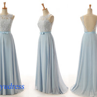 Hot selling prom dress, affordable prom dresses with ribbon, long prom dress with lace, chiffon prom dress on sale  5102