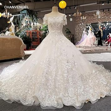 LS00258 vestido de noiva casamento appliques backless short sleeves ball gown beading bow royal train wedding dresses real photo