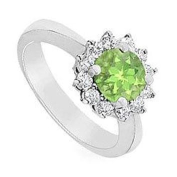 Peridot and Diamond Ring : 14K White Gold - 1.50 CT TGW