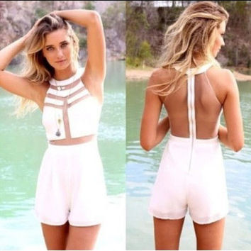 White Halter Sleeveless Mesh Accent Backless Romper