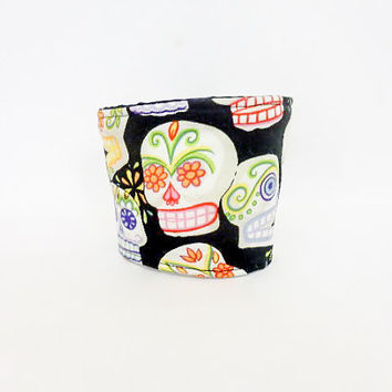 Reusable Coffee Sleeve  Coffee Cozy Sugar Skulls Day of the Dead