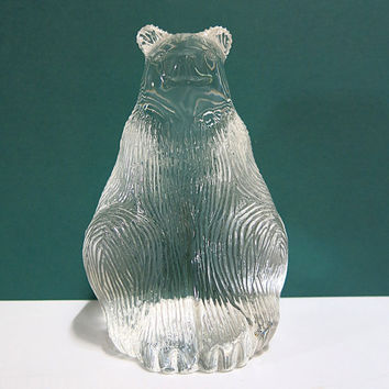 Vintage Lead Crystal Sitting Bear Figurine Textured Glass For Fur Animal Home Decor