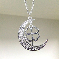 Silver Moon and Four Leaf Clover Necklace, Crescent Moon Necklace, Celestial, Lucky Necklace, Celtic Charm Necklace, Protection Necklace