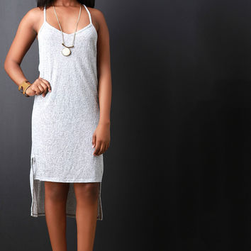 Marled Knit Side Cutout High Low Midi Dress