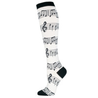 Music Note Knee High Socks