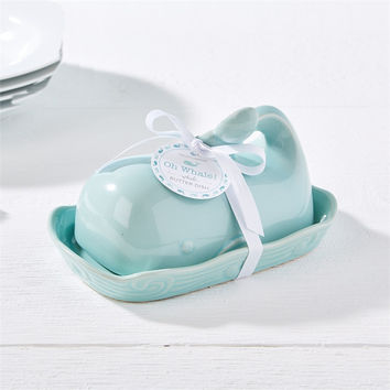 Oh Whale Watercolor Blue Stoneware Butter Dish