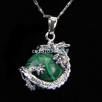 Gem Dragon Round Reiki Chakra Healing Pendant Necklaces Beads