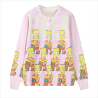 Pink Bart Simpsons Cardigan