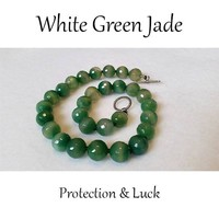 White/Green Jade, faceted Stone Bead Necklace