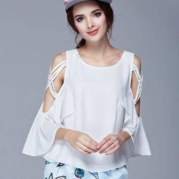 White Shoulder Cut-Out Ruffle Chiffon Blouse