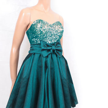 Dark emerald green taffeta /sequins strapless / PARTY /cocktail / bridesmaid /prom / dress