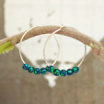 Small Hoop Earrings, opal Hoop Earrings, Dark Green Opal beads, Sterling silver earrings, Gypsy Hoops, Tribal earrings, opal jewelry