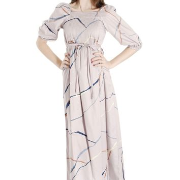 Vintage Marimekko Suomi Finland 1978 Gray Cotton Printed Maxi Dress Blue XS