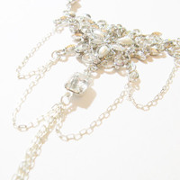 Wedding Bridal pearl and crystal silver necklace