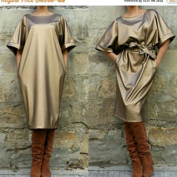 SALE ON 20 % OFF Gold dress/ midi dress/ party dress/ Oversized dress/ evening dress/ maxi dress/ leather dress