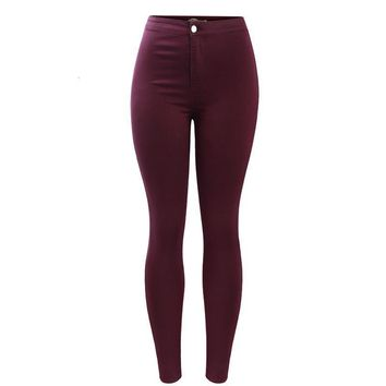 Burgundy Elastic Denim Jean