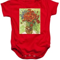 Vincent Van Gogh Poppies With Daisies - Baby Onesuit