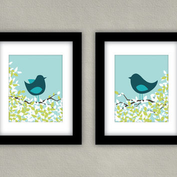 Home Decor Bird Art Prints, Teal & Aqua - 8x10