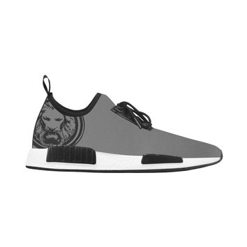 Mens Grey Trainer with Black Lion Run Style