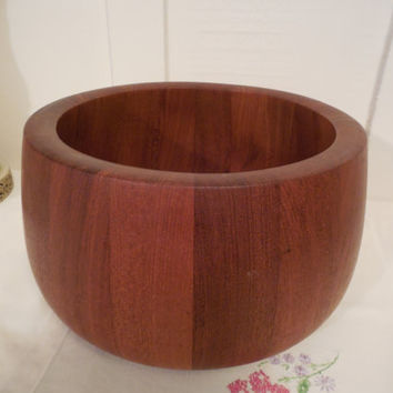 "Dansk Teak Wood Bowl 9 1/4"" Across, Dansk Designs Denmark IHQ, Heavy Danish Modern Design Teak Bowl, Table Top Danish Decor"